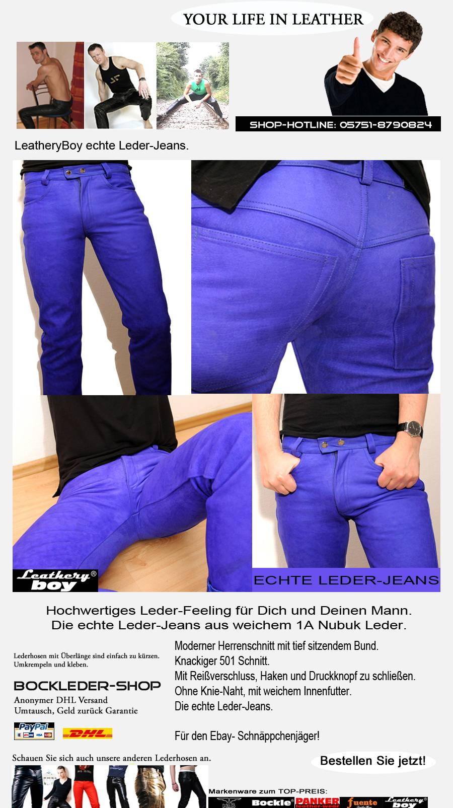 leder jeans von leathery boy zum top preis blaue lederhose blue leather trousers. Black Bedroom Furniture Sets. Home Design Ideas