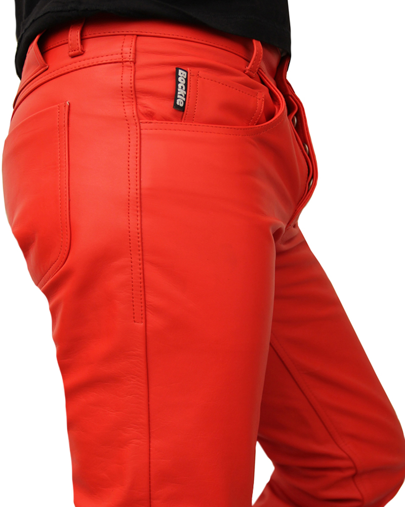 bockle red men 39 s leather pants real red 501 leather jeans sexy gay spain you new ebay. Black Bedroom Furniture Sets. Home Design Ideas