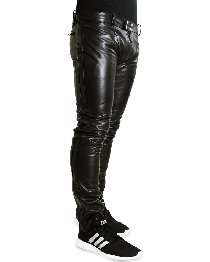 lederjeans schwarze lederhose mit durchgehendem rei verschluss zipper bockle 3g ebay. Black Bedroom Furniture Sets. Home Design Ideas